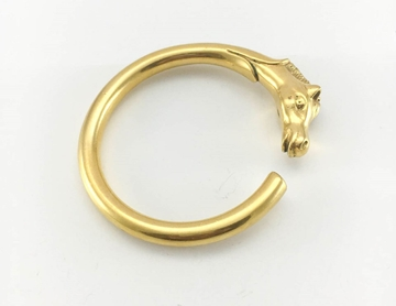 Hermes 1980s Gold-Plated Horse Head Bangle