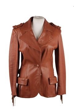Lanvin Leather Fringed Western Style brown vintage jacket