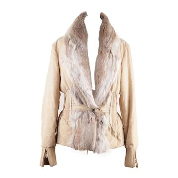 Ermanno Scervino Padded Fur Collar Beige Jacket