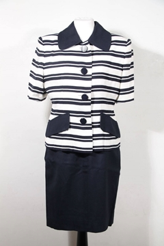 Givenchy Boutique Striped Navy Jacket & Skirt Suit