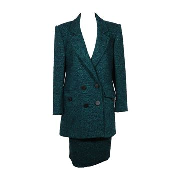 Andrea Odicini 1980s Tweed green vintage skirt suit