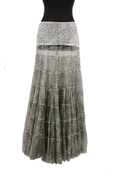 Picture of Blumarine Silky Floral Maxi Tiered blue vintage Skirt