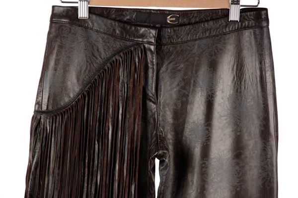 Just Cavalli Embossed Leather fringed trousers