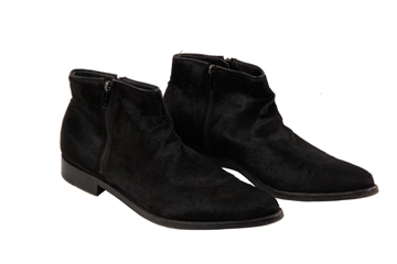 Sergio Rossi Mens Pony Hair Leather Black Vintage Ankle Boots