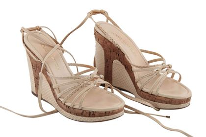 Louis Vuitton Snakeskin & Leather Wedge Platform Beige Vintage High Heels