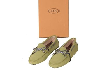 Picture of Tod's Suede Heaven Laccetto Loafers Moccasins Green Vintage Shoes