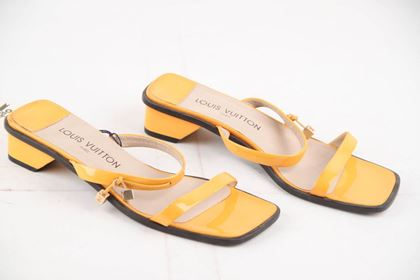 Picture of Vintage Louis Vuitton Patent Leather Yellow Heeled Sandals