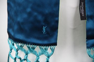 Picture of Yves Saint Laurent Silk Long Skinny Teal & Green fringed vintage Scarf