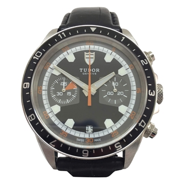 Tudor 70330 chronograph stainless steel black vintage mens watch