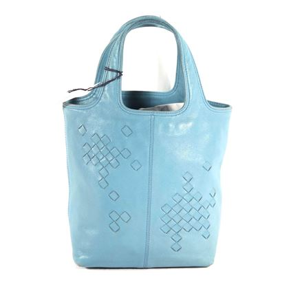 Bottega Veneta Leather Intrecciato Detail Blue Vintage Top Handle Bag
