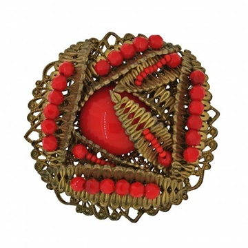 Miriam Haskell 1950s Red Cabochon Vintage Brooch