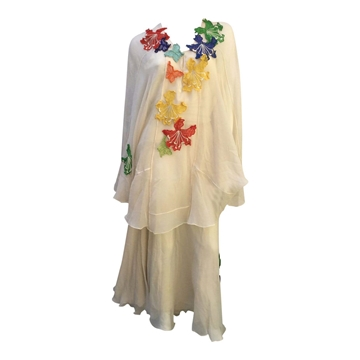 Thea Porter 1970s silk chiffon & applique vintage Dress