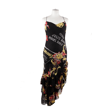 Iceberg Silk Matador Printed Asymmetric black vintage Dress
