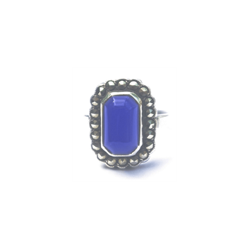 Picture of Art Deco Silver Marcasite & Blue Glass vintage Ring
