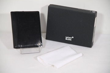 Montblanc platinum Leather Black Vintage Business Card Holder