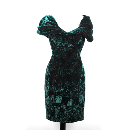 Picture of Antony Price Green Velvet Off Shoulder Vintage Mini Dress