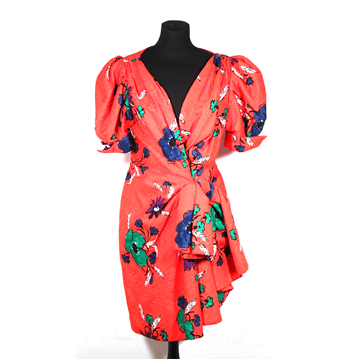 Picture of Andrea Odicini 1970s Red Floral Vintage Wrap Dress