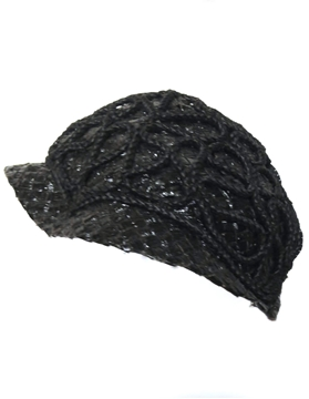 1930s black woven & corded straw day hat