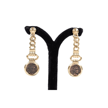 Vintage Italian 18K Yellow Gold Antique Ancient Coin Dangle Earrings