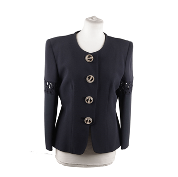 Gai Mattiolo Collarless Cut Out navy vintage Jacket