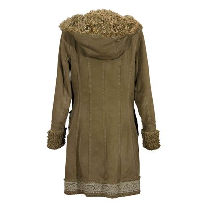 Ermanno Daelli embroidery detail shearling trim vintage coat