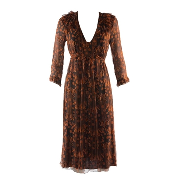 Burberry silk chiffon floral print black & brown vintage dress