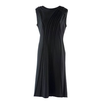 Alberta Ferretti Wool ribbed detail black vintage dress