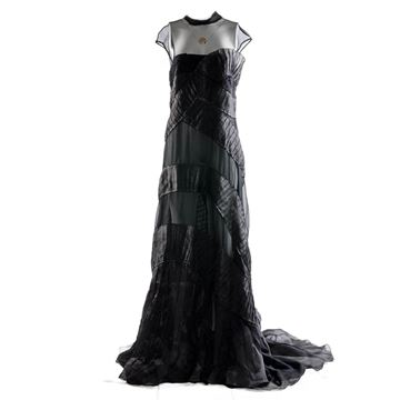Alberta Ferretti silk & tulle tiered panel black vintage dress