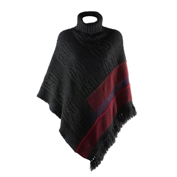 Etro Fringed wool multicolour vintage poncho