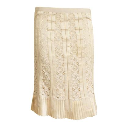 Dolce & Gabbana Lace & Pleated Cream Vintage Skirt