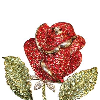 Carlo Zini Red rose brooch
