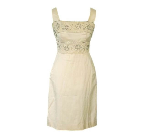 Vintage 1960s Couture Silk & Lace cream dress