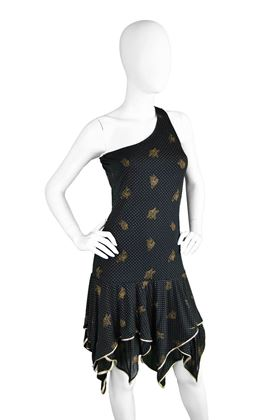 Emanuel Ungaro 1970s One Shoulder patterned vintage Party Dress