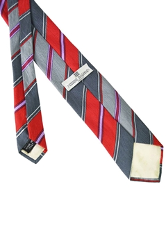 Pierre Balmain 1980s Red & Grey Striped Mens Silk vintage Tie