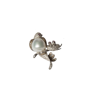 Vintage Tahitian Pearl and Diamond Bird and Chicks on a Branch Brooch