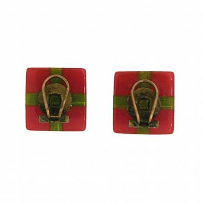 Vintage 1940s Phenolic Red & Green Vintage Earrings