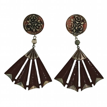 Auguste Bonaz 1920s Celluloid Brown & Silver Vintage Earrings