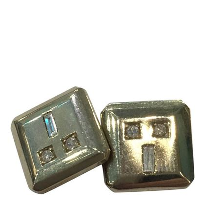 Vintage Art Deco Geometric Platinum and Diamond Cufflinks