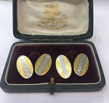 Antique Edwardian 18 Carat White and Yellow Gold Engine Turned Cufflinks
