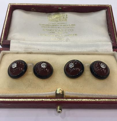 Antique Edwardian Circular Carnelian, Onyx and Diamond Cufflinks