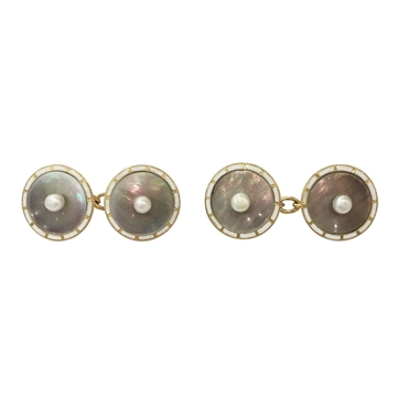 Antique Edwardian Circular Mother of Pearl, Enamel and Natural Pearl Cufflinks