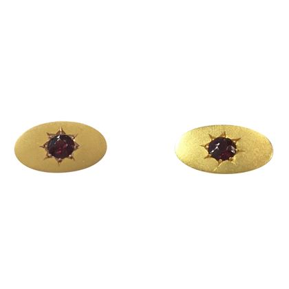 Antique Edwardian Garnet Set 9 Carat Yellow Gold Cufflinks