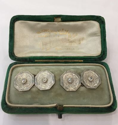Vintage Art Deco Octagonal Engraved Platinum and Diamond Cufflinks