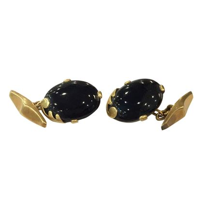Antique Art Nouveau Black Onyx and 18 Carat Yellow Gold Cufflinks