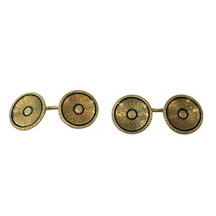 Antique Edwardian 18 Carat Yellow Gold and Black Enamel Cufflinks