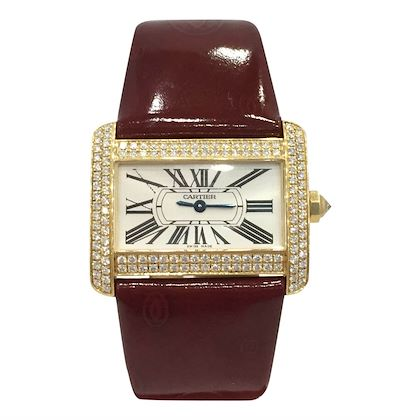 Cartier yellow gold and diamond vintage womens watch