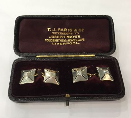 Vintage Art Deco Square Platinum and Diamond Cufflinks