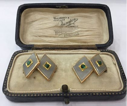 Antique Victorian Chalcedony and Emerald 18 Carat Yellow Gold Cufflinks