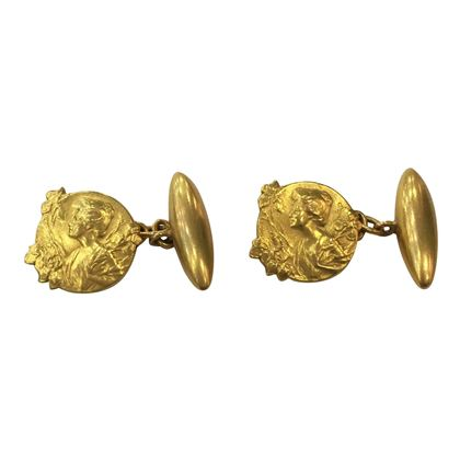 Antique Art Nouveau 18 Carat Yellow Gold Cufflinks