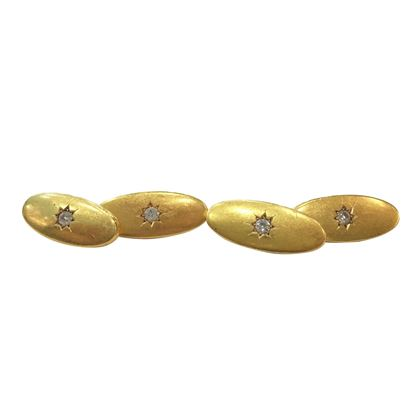 Antique Edwardian Oval 18 Carat Yellow Gold and Diamond Cufflinks